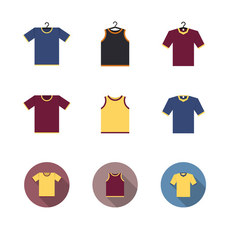 Set of sport t-shirts isolated on white background, design element outerwear and article of clothing. Flat style, vector illustration.