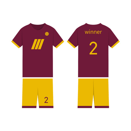 T-shirt sport design template for soccer jersey. Mock up football kit in front view and back view. Flat style, vector illustration. 向量圖像