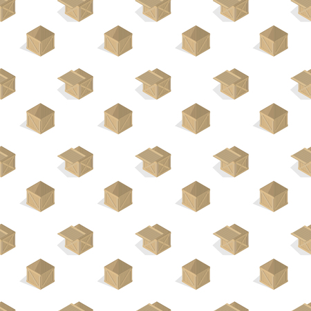 Seamless background from a set of 3D wooden boxes, vector illustration.