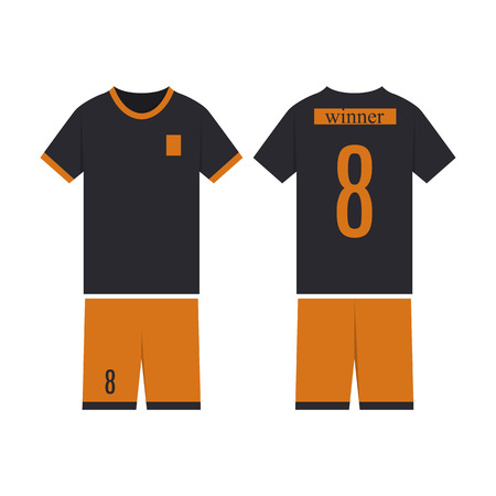 T-shirt sport design template for soccer jersey. Mock up football kit in front view and back view. Flat style, vector illustration. Ilustração