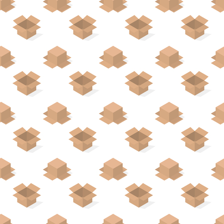 Seamless background from a set of 3D cardboard boxes, vector illustration. Ilustração