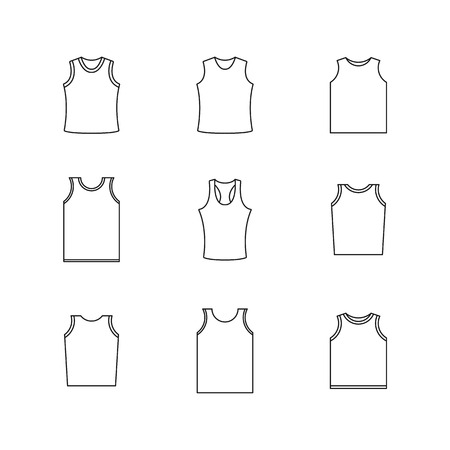 Set of different shirts from thin lines isolated on white background. Design element outerwear and article of clothing, vector illustration. Banco de Imagens - 124637833