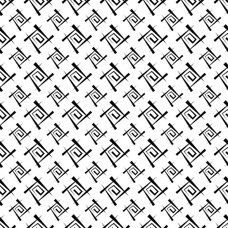 Black and white abstract background. Seamless texture from a set of lines and spirals, vector illustration. Banco de Imagens - 124637835