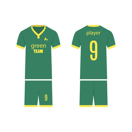 T-shirt sport design template for soccer jersey. Mock up football kit in front view and back view. Flat style, vector illustration. Banco de Imagens - 124637837