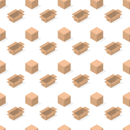 Seamless background from a set of 3D cardboard boxes, vector illustration. Banco de Imagens - 124637838