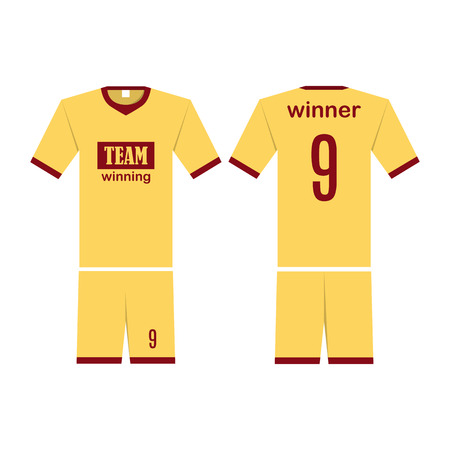 T-shirt sport design template for soccer jersey. Mock up football kit in front view and back view. Flat style, vector illustration.