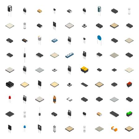 Ensemble de différents composants électroniques actifs et passifs isolé sur fond blanc. Style isométrique plat 3D, illustration vectorielle. Vecteurs