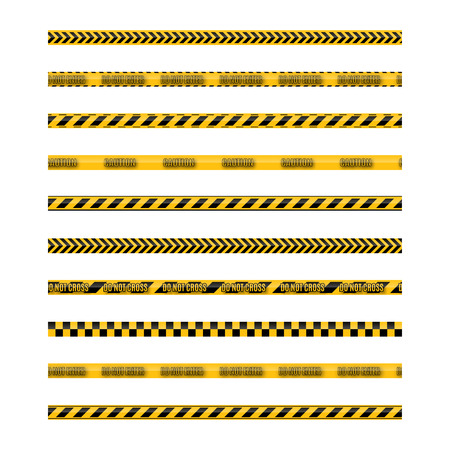 Set of seamless yellow and black warning tapes with text do not cross, warning, caution. Isolated on white background. Design elements for reconstruction, vector illustration. Standard-Bild - 122796446