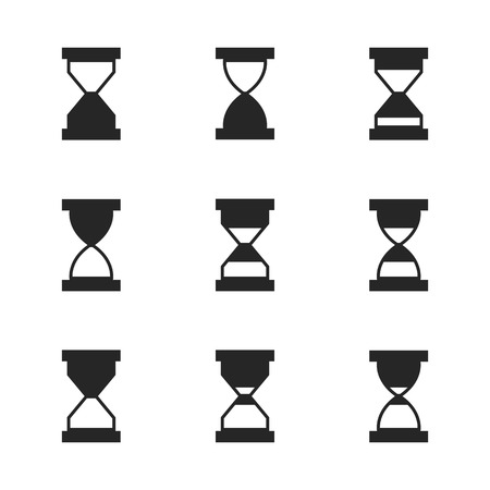Hourglass icon set isolated. Black silhouettes on white background. Flat style, vector illustration. Banco de Imagens - 123986544