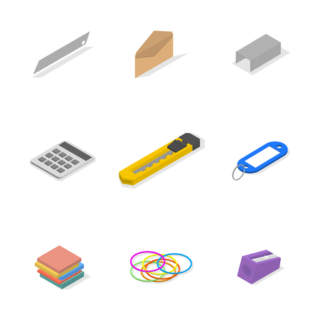 Set of icons isolated on white background, office and school. Flat 3d isometric style, vector illustration. Banco de Imagens - 123721089