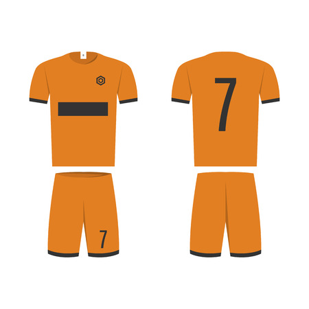 T-shirt sport design template for soccer jersey. Mock up football kit in front view and back view. Flat style, vector illustration. Banco de Imagens - 123721091