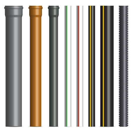 Set of various plastic pipes for sewage, gas and water pipe isolated on white background. Front view, vector illustration. Banco de Imagens - 123721092