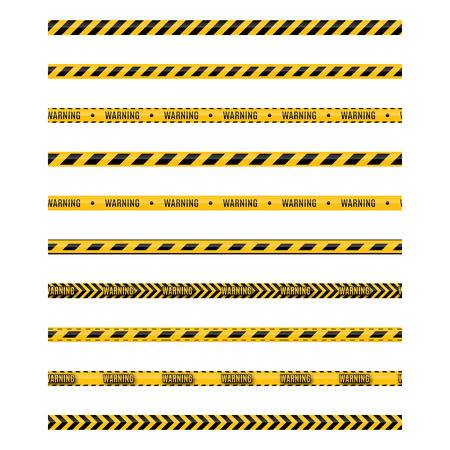 Set of seamless yellow and black warning tapes with text do not cross, warning, caution. Isolated on white background. Design elements for reconstruction, vector illustration.