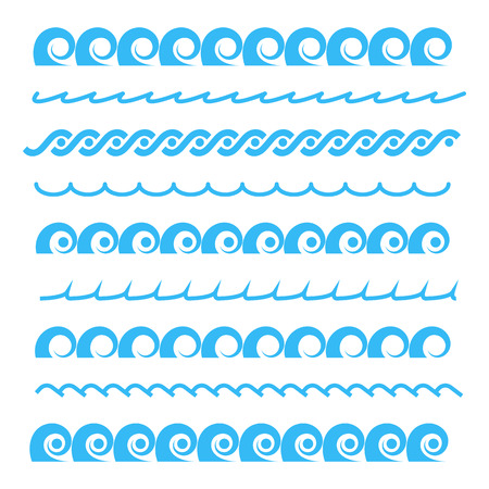 Blue sea water waves seamless borders, isolated on white background. Horizontal aqua elements, vector illustration.