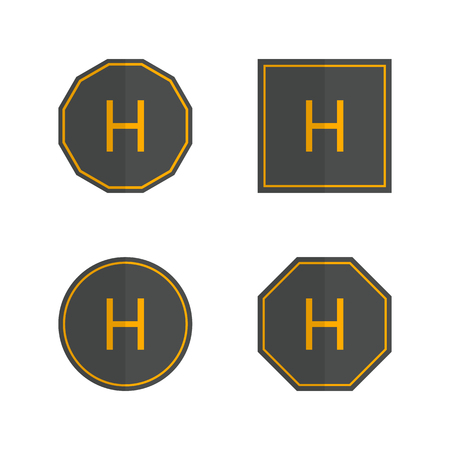 Set of various helipad icons isolated on white background. Flat style, vector illustration. Banco de Imagens - 127579504