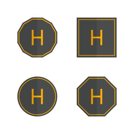 Set of various helipad icons isolated on white background. Flat style, vector illustration.