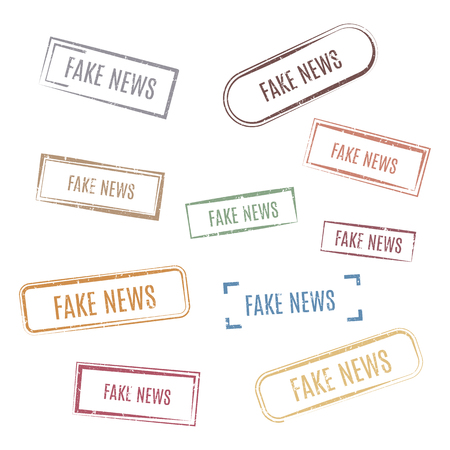 Set of rectangular stamps fake news, vector illustration. Ilustração