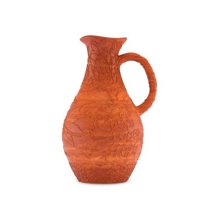 Clay jug for wine with a handle and pattern of grape leaves and grapes, front view. Isolated on white background, 3D illustration. Banco de Imagens - 127740499