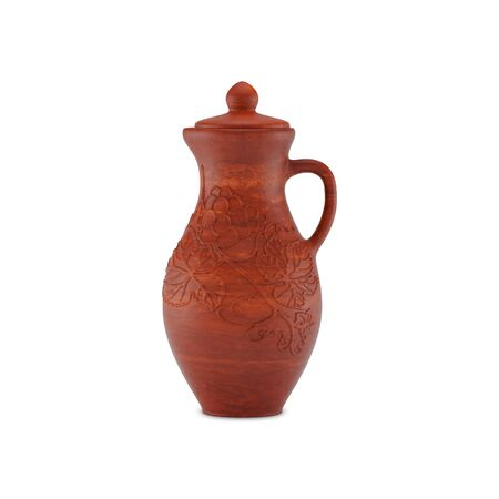 Clay jug for wine with a handle, cup and pattern of grape leaves and grapes, front view. Isolated on white background, 3D illustration.
