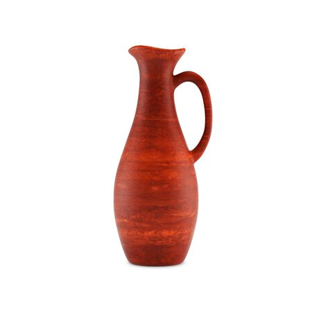 Clay jug for wine with a handle, front view. Isolated on white background, 3D illustration. Banco de Imagens - 127740504