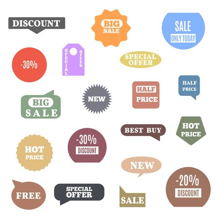 Premium quality labels for shopping, e-commerce, product, social media stickers and marketing. Flat style, vector illustration. Banco de Imagens - 127740505