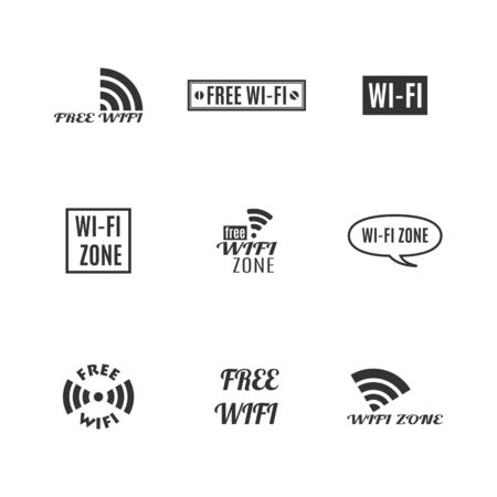 Set of various wireless icons isolated on a white background. Flat style, vector illustration. Banco de Imagens - 127740511