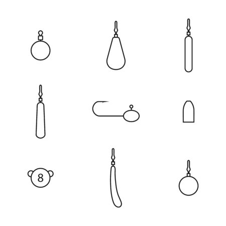 Fishing accessories from thin lines. Set of different fishing rigs and sinkers, isolated on white background, vector illustration.