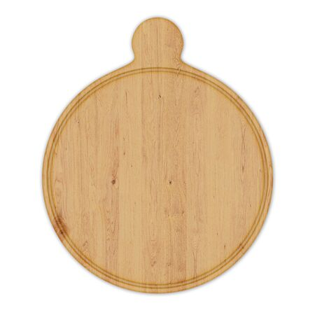 Round wooden pizza board with handle, isolated on white background. Top view, 3D render. Banco de Imagens - 128610506