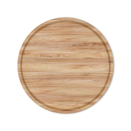 Round wooden pizza board without handle, isolated on white background. Top view, 3D render. Banco de Imagens - 128610514
