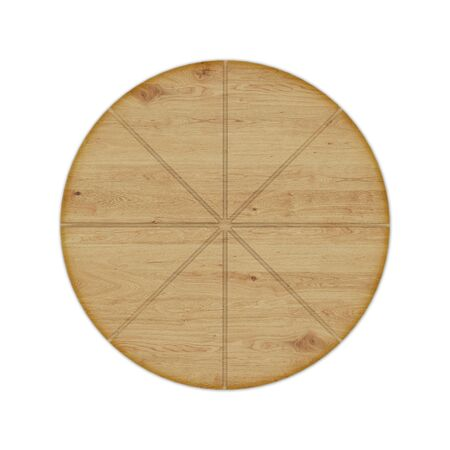 Round wooden pizza board with grooves for a knife and without handle, isolated on white background. Top view, 3D render. Banco de Imagens - 128610511