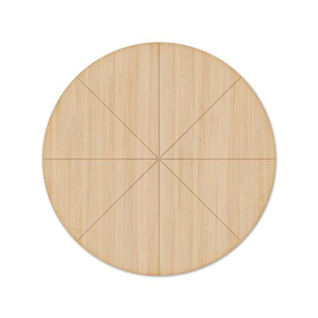 Round wooden pizza board with grooves for a knife and without handle, isolated on white background. Top view, 3D render. Banco de Imagens - 128610513