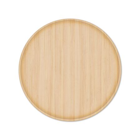 Round wooden pizza board without handle, isolated on white background. Top view, 3D render. Banco de Imagens - 128610516