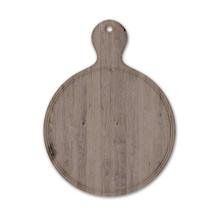 Round wooden pizza board with handle, isolated on white background. Top view, 3D render.