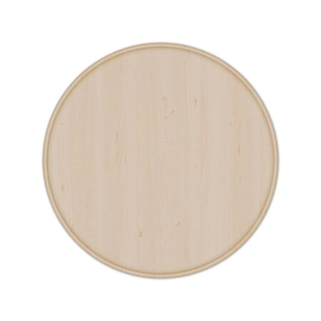 Round wooden pizza board without handle, isolated on white background. Top view, 3D render. Banco de Imagens