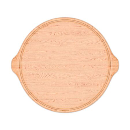 Round wooden pizza board with two handle, isolated on white background. Top view, 3D render. Banco de Imagens