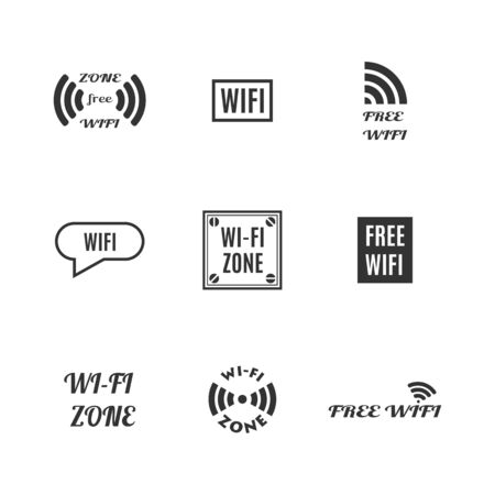 Set of various wireless icons isolated on a white background. Flat style, vector illustration. Ilustração