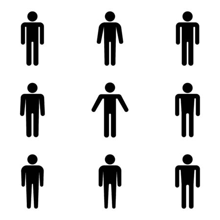 Set of stick figures, black mans silhouettes on a white background. Icons people, vector illustration.