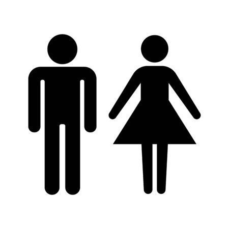 Set of stick figures, black womans and mans silhouettes on a white background. Icons people, vector illustration.