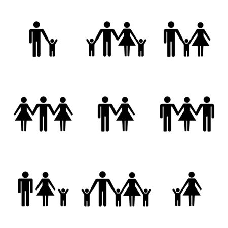 Set of family stick figures, black womans and mans silhouettes on a white background. Icons people, vector illustration. Banco de Imagens - 128326181