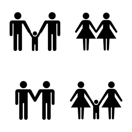Set of family stick figures, black womans and mans silhouettes on a white background. Icons people, vector illustration.