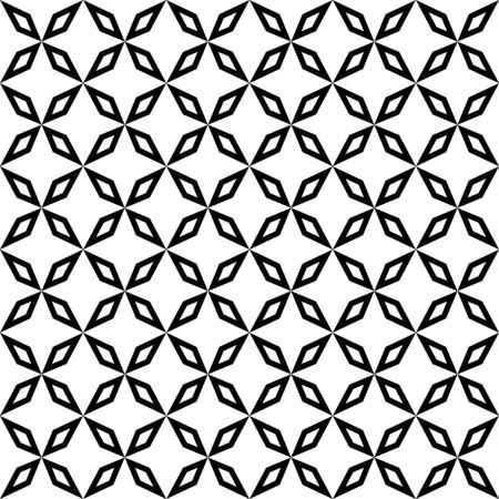 Black and white background. Seamless texture from a set of repeating abstract shapes, vector illustration.