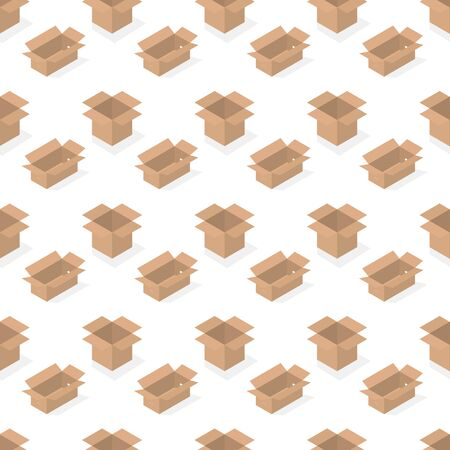 Seamless background from a set of 3D cardboard boxes, vector illustration. Banco de Imagens - 128326176