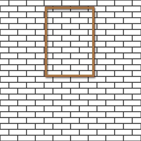 Brick wall with wooden frame for a picture, vector illustration.