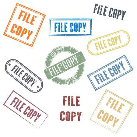 Set of rectangular stamps file copy, vector illustration. Illusztráció