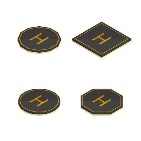 Set of various helipad icons isolated on white background. Flat 3D isometric style, vector illustration. Vektorové ilustrace