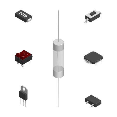 Satz von verschiedenen aktiven und passiven elektronischen Bauteilen lokalisiert auf weißem Hintergrund. Widerstand, Kondensator, Diode, Mikroschaltung, Sicherung und Knopf. Isometrischer 3D-Stil, Vektorillustration.