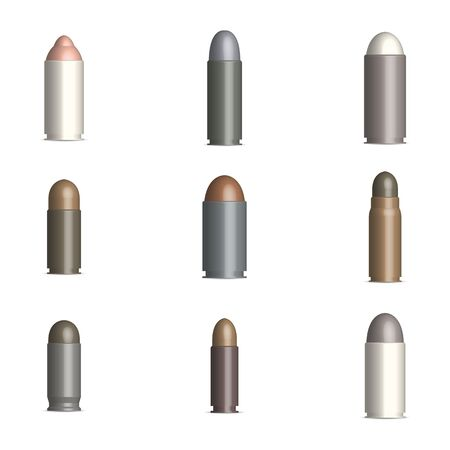 Set of photorealistic gun cartridges with a bullet, isolated on white background. Front view, vector illustration.