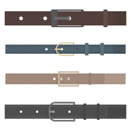 Set of different colored belts isolated on white background. Element of clothing design. Flat style, vector illustration. 向量圖像