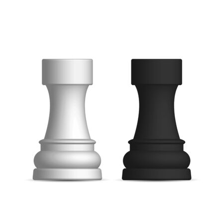 Photo realistic black and white chess piece rook. Front wiev, vector illustration. 일러스트