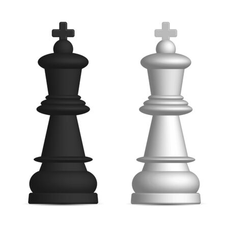 Photo realistic black and white chess piece king. Front wiev, vector illustration. 일러스트